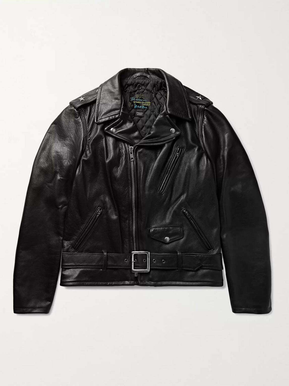Schott Perfecto Leather Biker Jacket In Black