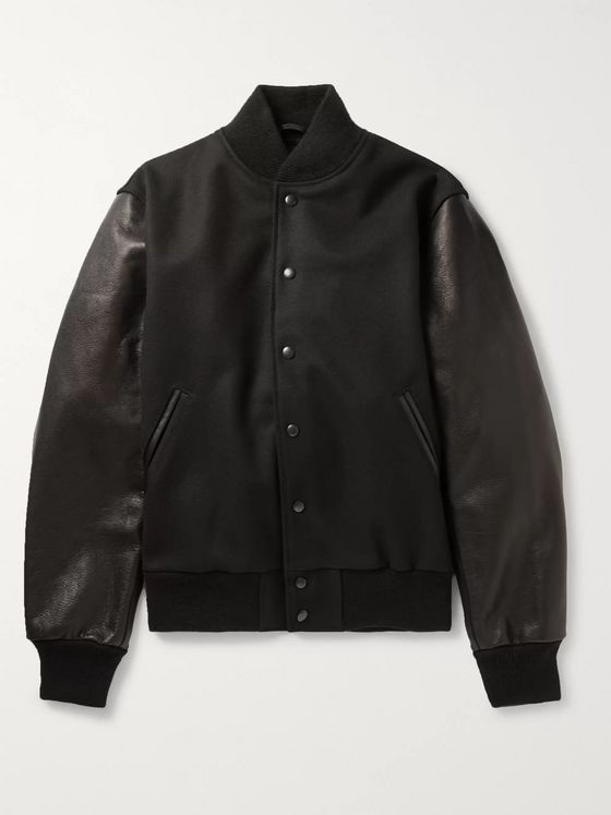 Golden Bear The Albany Wool-Blend and Leather Bomber Jacket