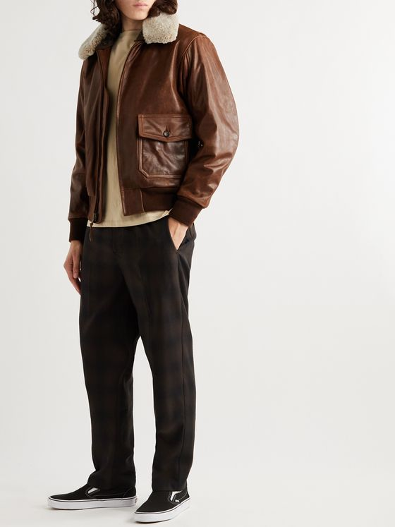 GOLDEN BEAR Westwood Shearling-Trimmed Leather Jacket