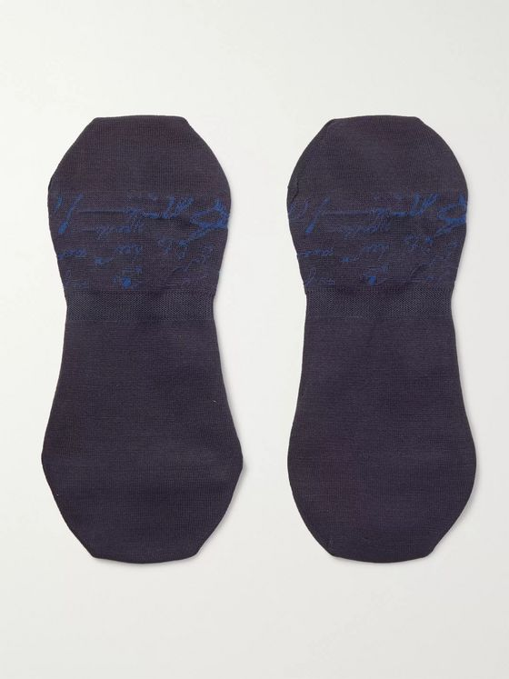 Berluti Scritto Logo-Intarsia Stretch Cotton-Blend No-Show Socks