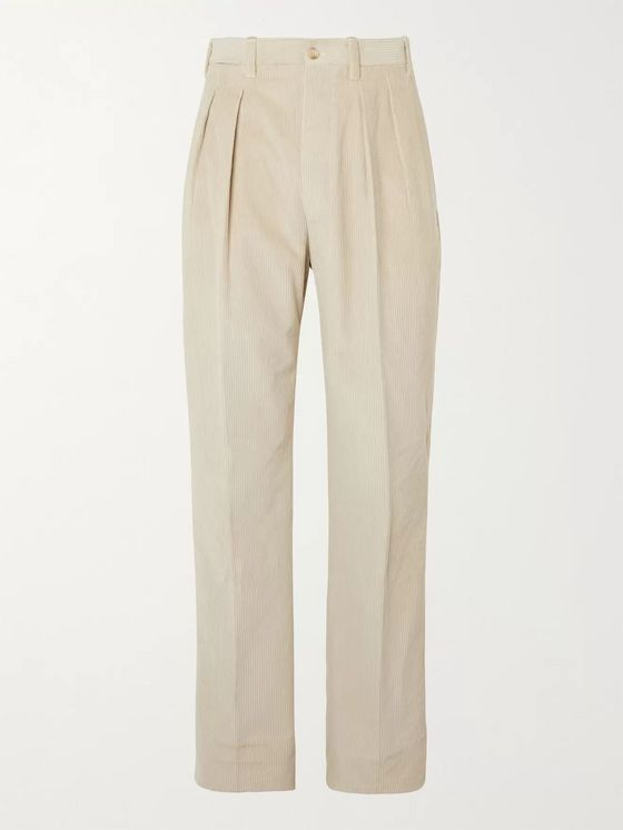 Giuliva Heritage Umberto Tapered Pleated Cotton-Corduroy Trousers