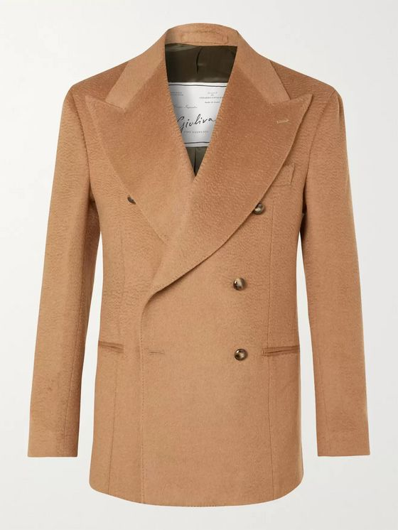 Giuliva Heritage Stefano Double-Breasted Camel Hair Blazer