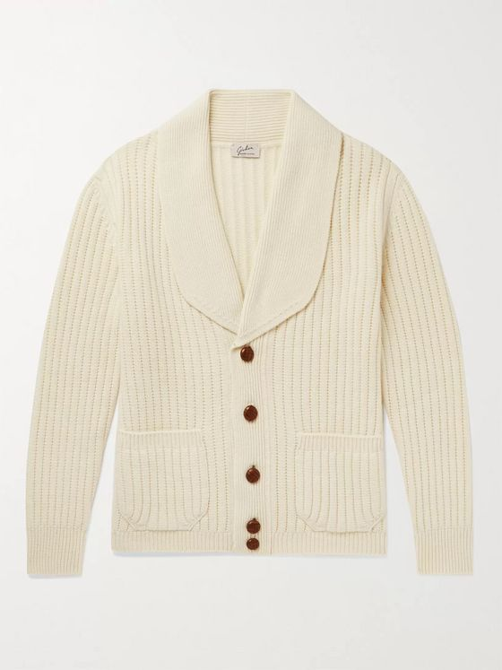 Giuliva Heritage Clemente Shawl-Collar Ribbed Wool and Cashmere-Blend Cardigan