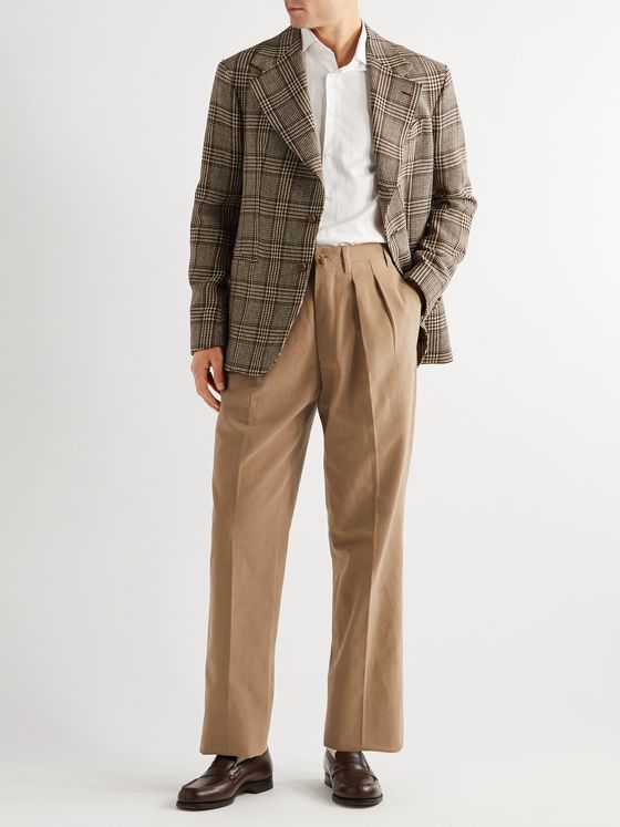 Giuliva Heritage Umberto Pleated Cotton-Drill Trousers