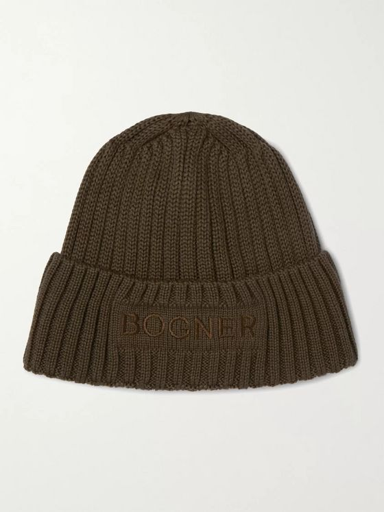 Bogner Enio Logo-Embroidered Ribbed Wool-Blend Beanie