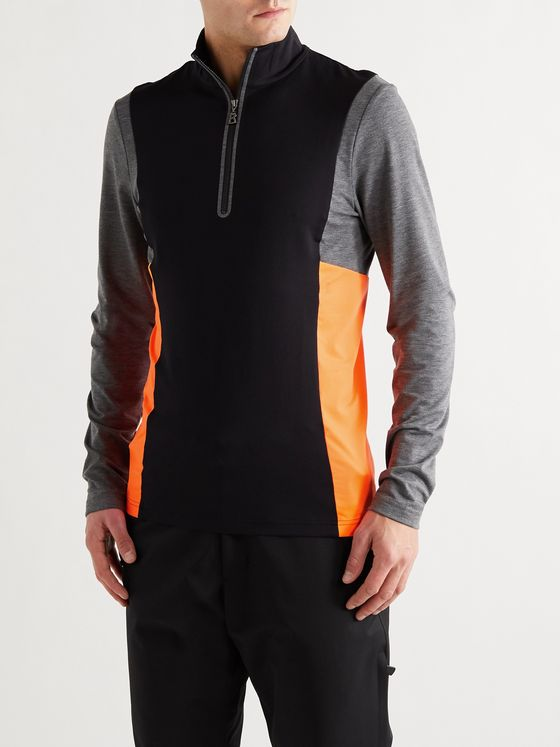 Bogner Camilo Slim-Fit Logo-Print Colour-Block Stretch-Jersey Half-Zip Ski Base Layer