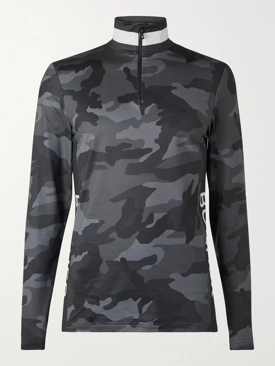 Bogner Verti Logo-Print Camouflage Stretch-Jersey Half-Zip Base Layer