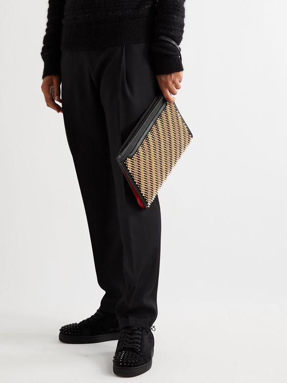 Christian Louboutin Skypouch Studded Full-Grain Leather Pouch