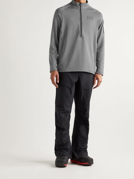 Burton [ak] Helium Slim-Fit Polartec Power Grid Fleece Hooded Half-Zip Ski Mid-Layer