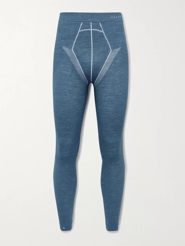 falke ergonomic sport system - stretch virgin wool-blend thermal ski tights - men - blue