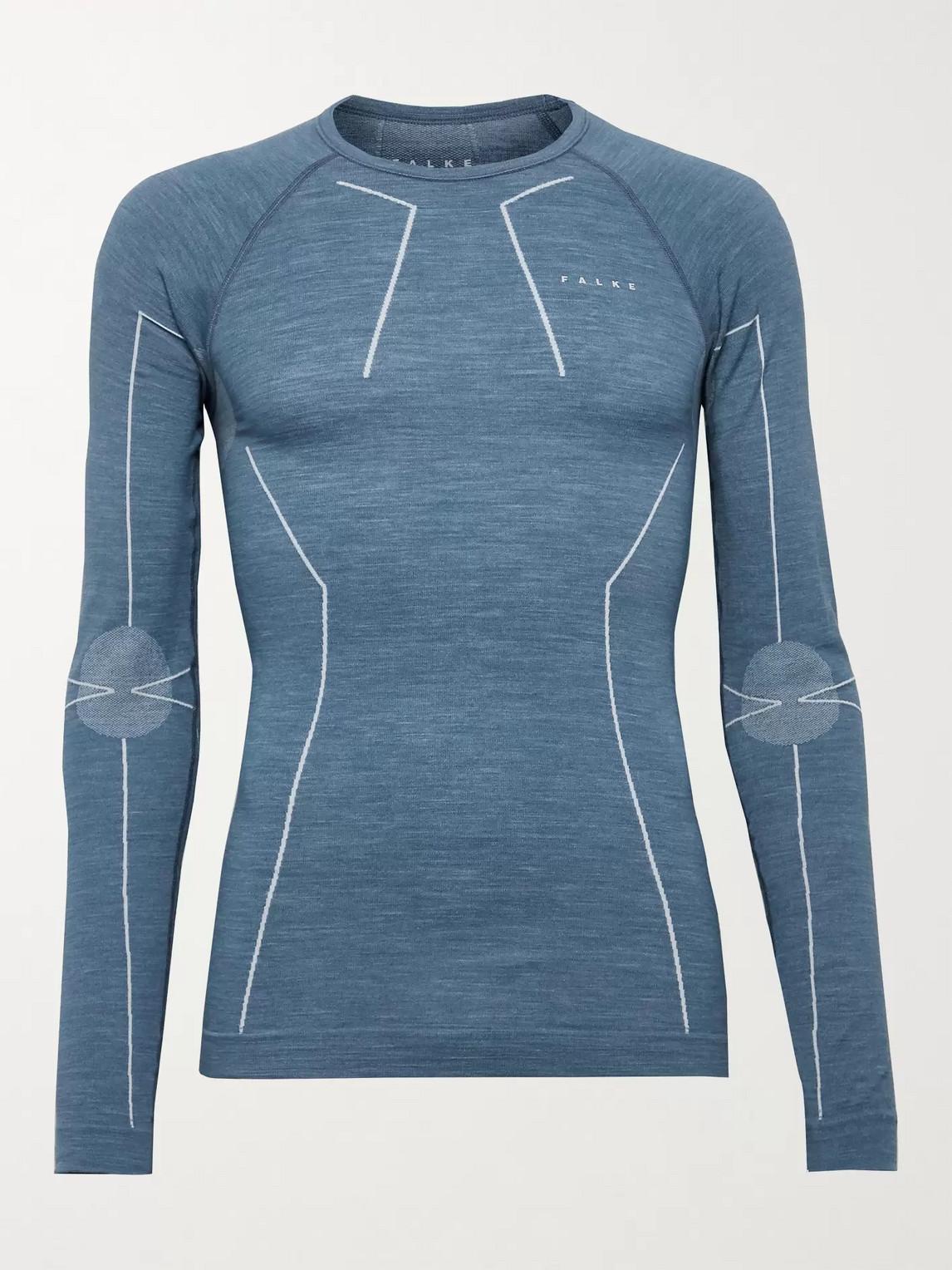falke ergonomic sport system - stretch virgin wool-blend ski base layer - men - blue