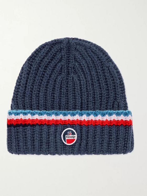 FUSALP Striped Logo-Appliquéd Merino Wool Ski Beanie