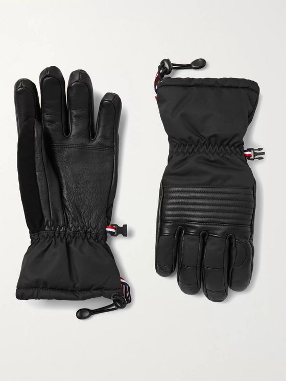 FUSALP Albinen Nubuck-Trimmed Shell and Leather Padded Ski Gloves