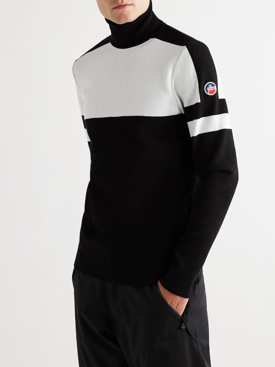 Fusalp Juan Logo-Appliquéd Two-Tone Knitted EcoVero Roll-Neck Ski Sweater