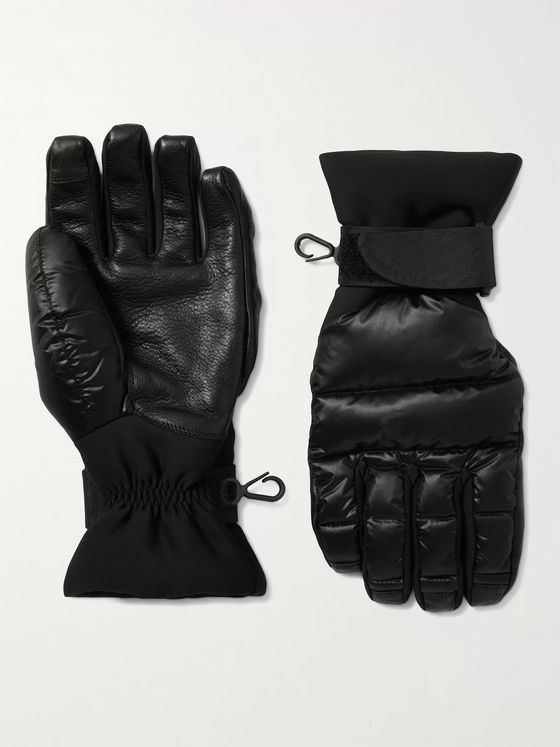 Moncler Grenoble Logo-Appliquéd Quilted Nylon, Neoprene and Leather Down Ski Gloves