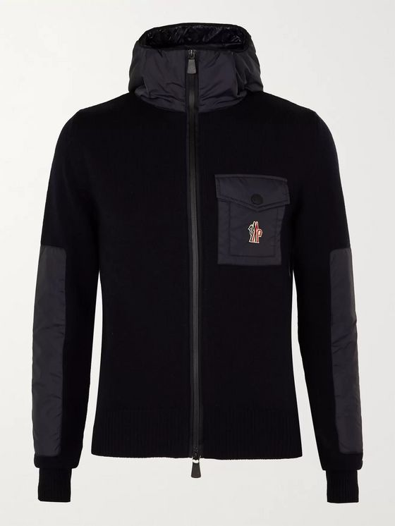 Moncler Grenoble Panelled Merino Wool-Blend Hooded Jacket