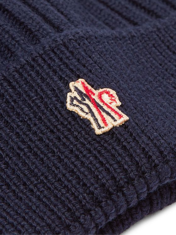 Moncler Grenoble Logo-Appliquéd Ribbed Virgin Wool Beanie