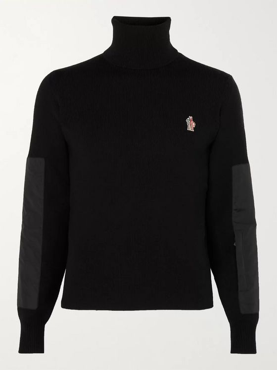 Moncler Grenoble Logo-Appliquéd Padded Shell-Trimmed Ribbed Wool-Blend Roll-Neck Sweater