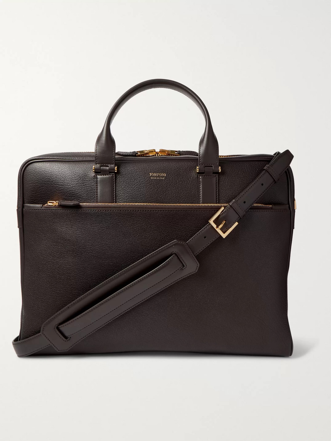 Tom Ford Full-grain Leather Briefcase In Black