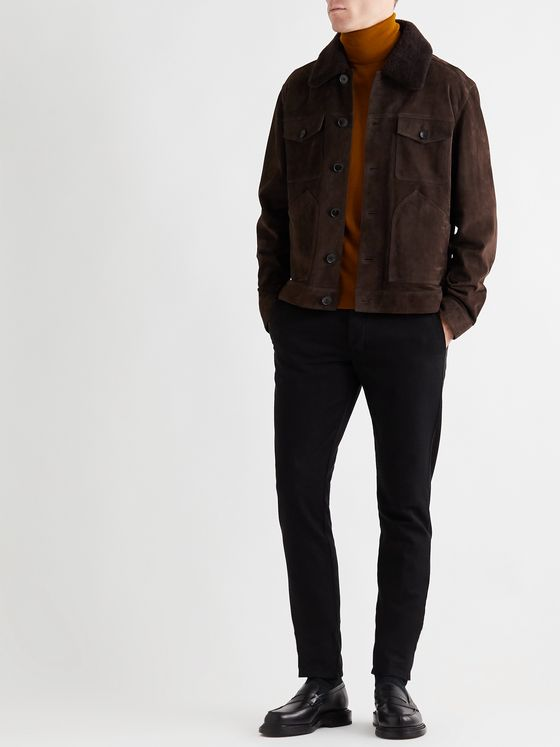 Mr P. Shearling-Trimmed Suede Trucker Jacket