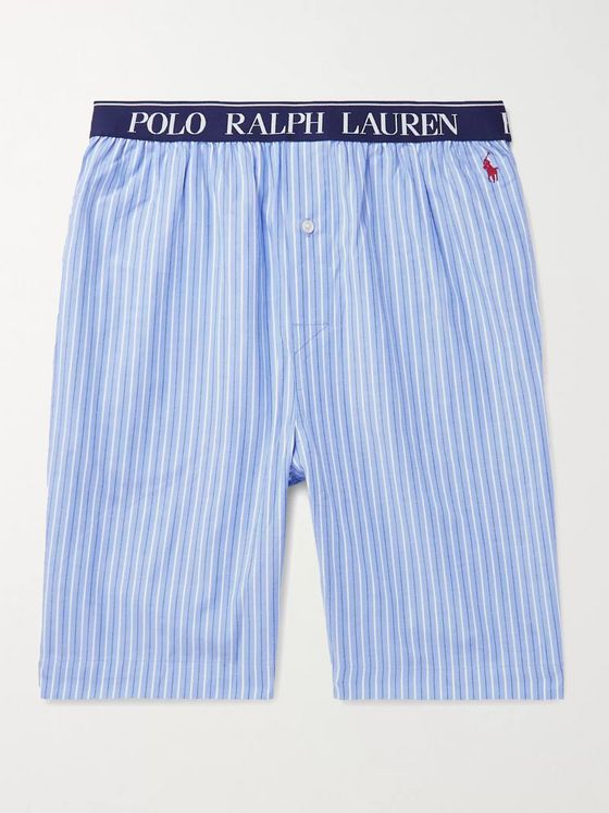 POLO RALPH LAUREN Logo-Embroidered Striped Cotton Pyjama Shorts