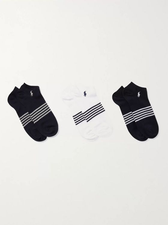 POLO RALPH LAUREN Three-Pack Logo-Embroidered Striped Stretch Cotton-Blend Socks