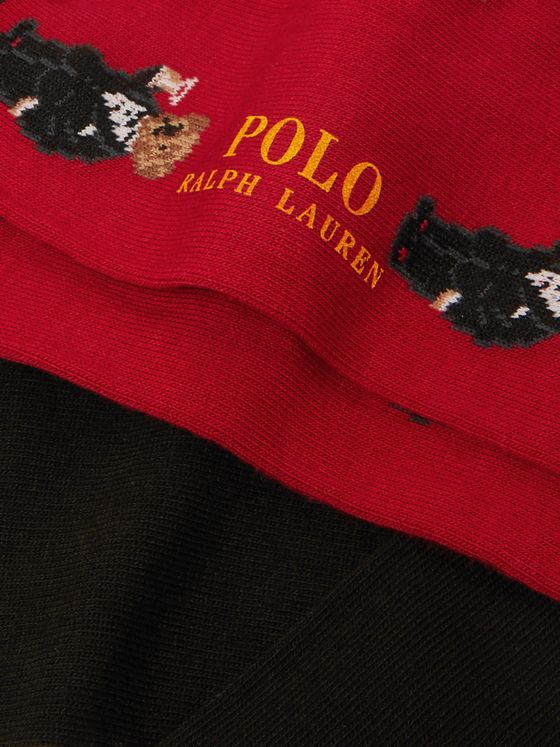 Polo Ralph Lauren Two-Pack Polo Bear Intarsia Cotton-Blend Socks