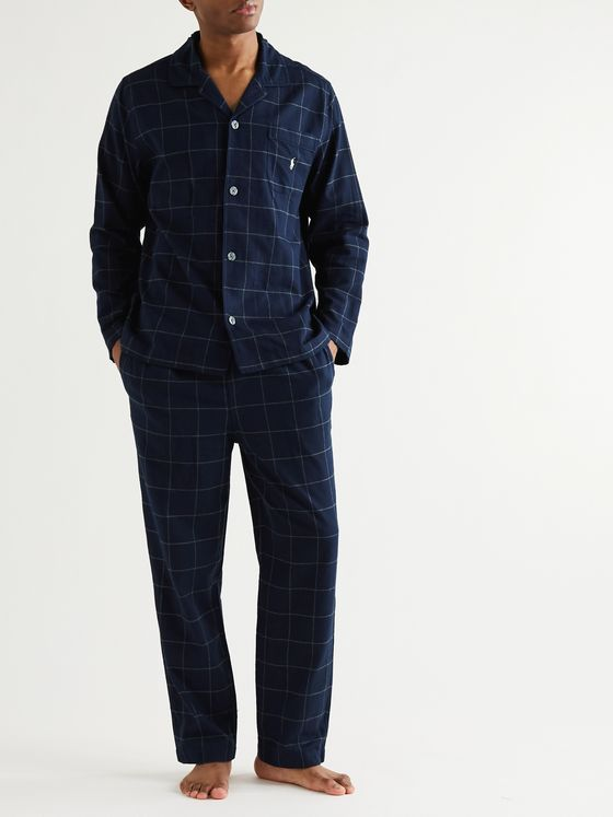 POLO RALPH LAUREN Logo-Embroidered Checked Cotton-Flannel Pyjama set