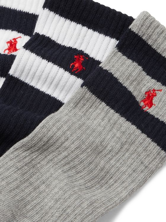 Polo Ralph Lauren Three-Pack Striped Ribbed Stretch-Knit Socks