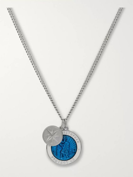Miansai St Christopher Sterling Silver and Enamel Necklace