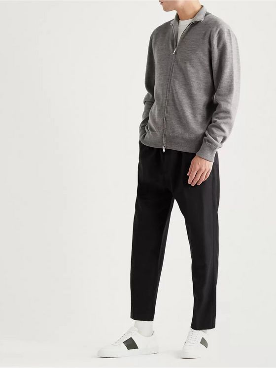 MR P. Melangé Merino Wool-Blend Zip-Up Sweater