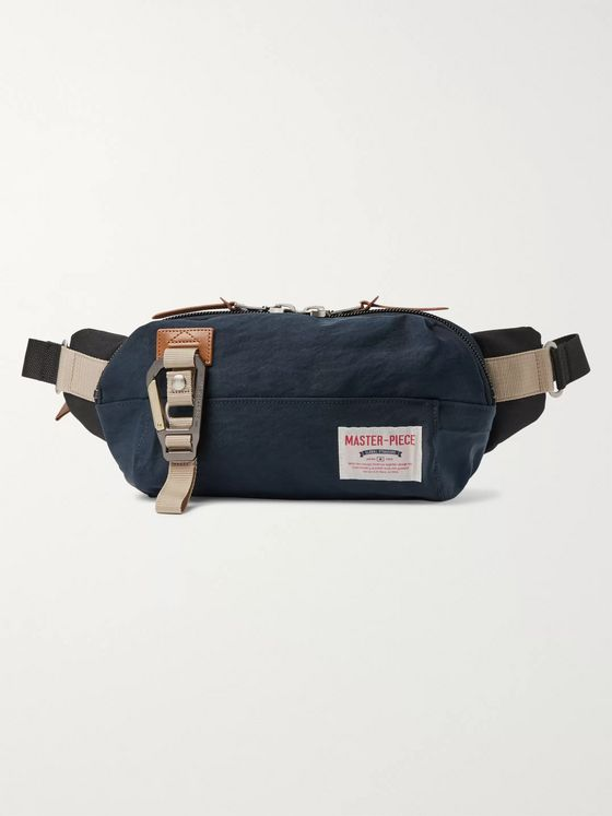 Master-Piece Leather-Trimmed Nylon-Twill and Canvas Belt Bag