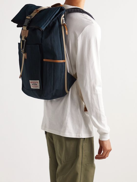 Master-Piece Leather-Trimmed Nylon-Twill Backpack