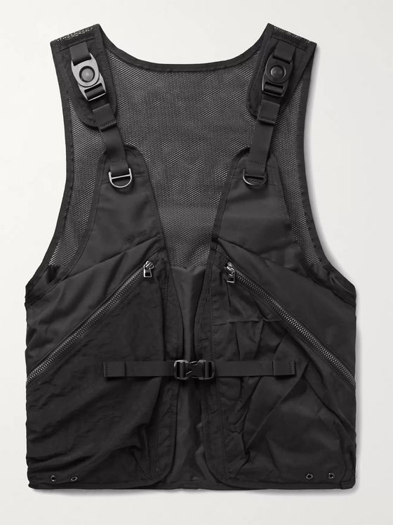 MASTER-PIECE + Rebirth Project Grosgrain-Trimmed Mesh and Nylon Gilet
