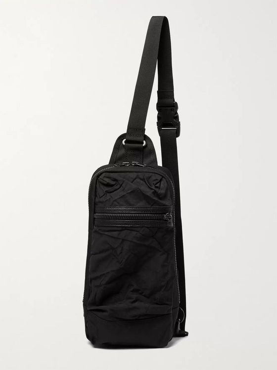 Master-Piece + Rebirth Project Leather-Trimmed Crinkled-Shell and Canvas Sling Backpack