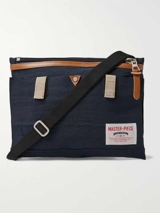 Master-Piece Leather-Trimmed Nylon-Twill Messenger Bag