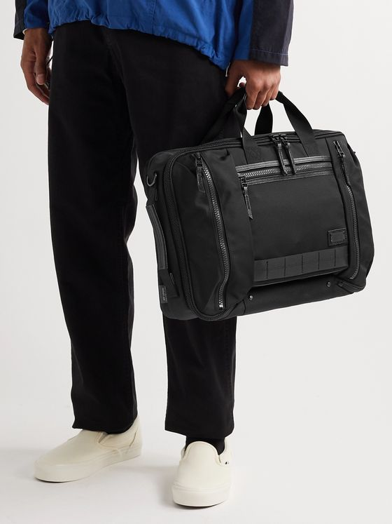 Master-Piece Leather-Trimmed MASTERTEX-08 Briefcase