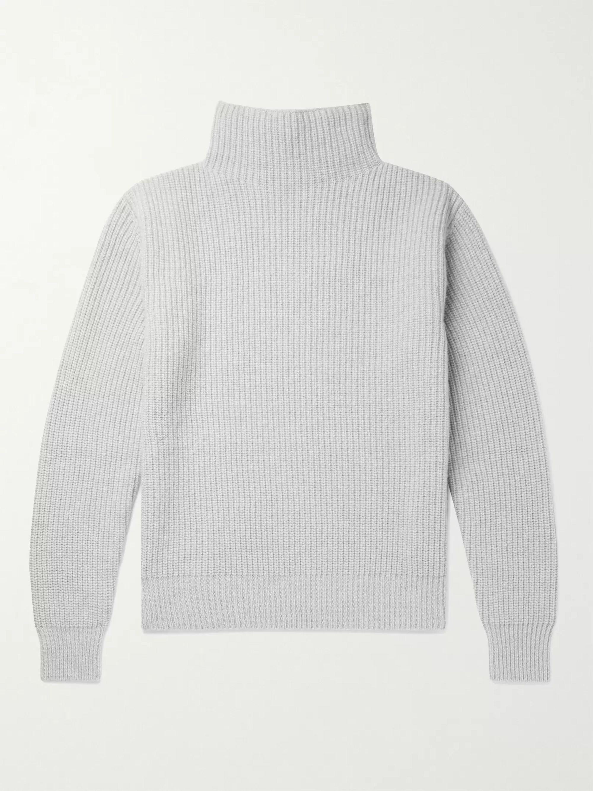 Mr P. Stand-Collar Ribbed Virgin Wool Sweater