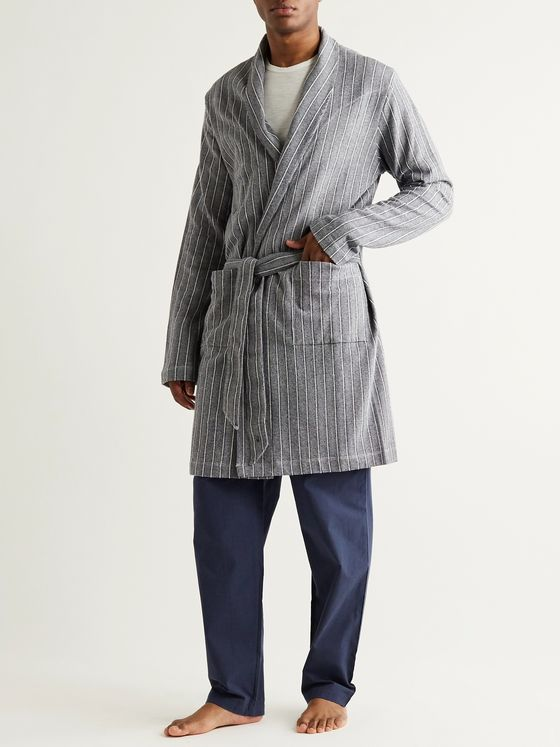 Hamilton and Hare Striped Mélange Cotton Robe