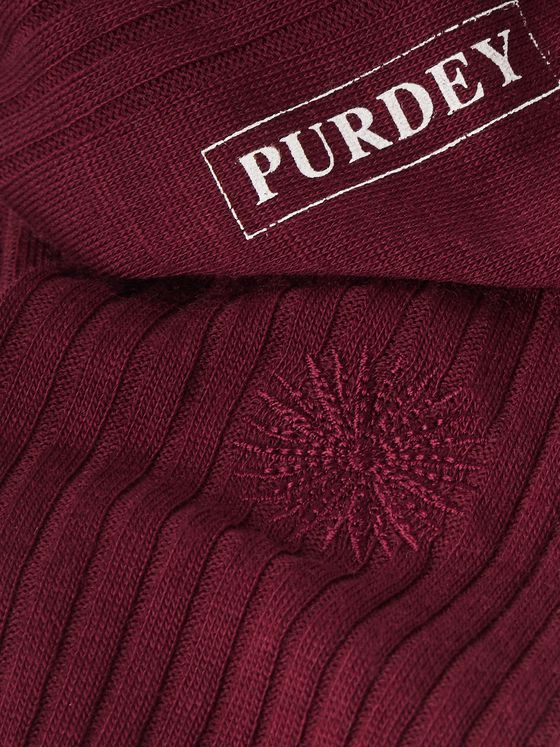 Purdey Featherburst Embroidered Ribbed Merino Wool-Blend Socks