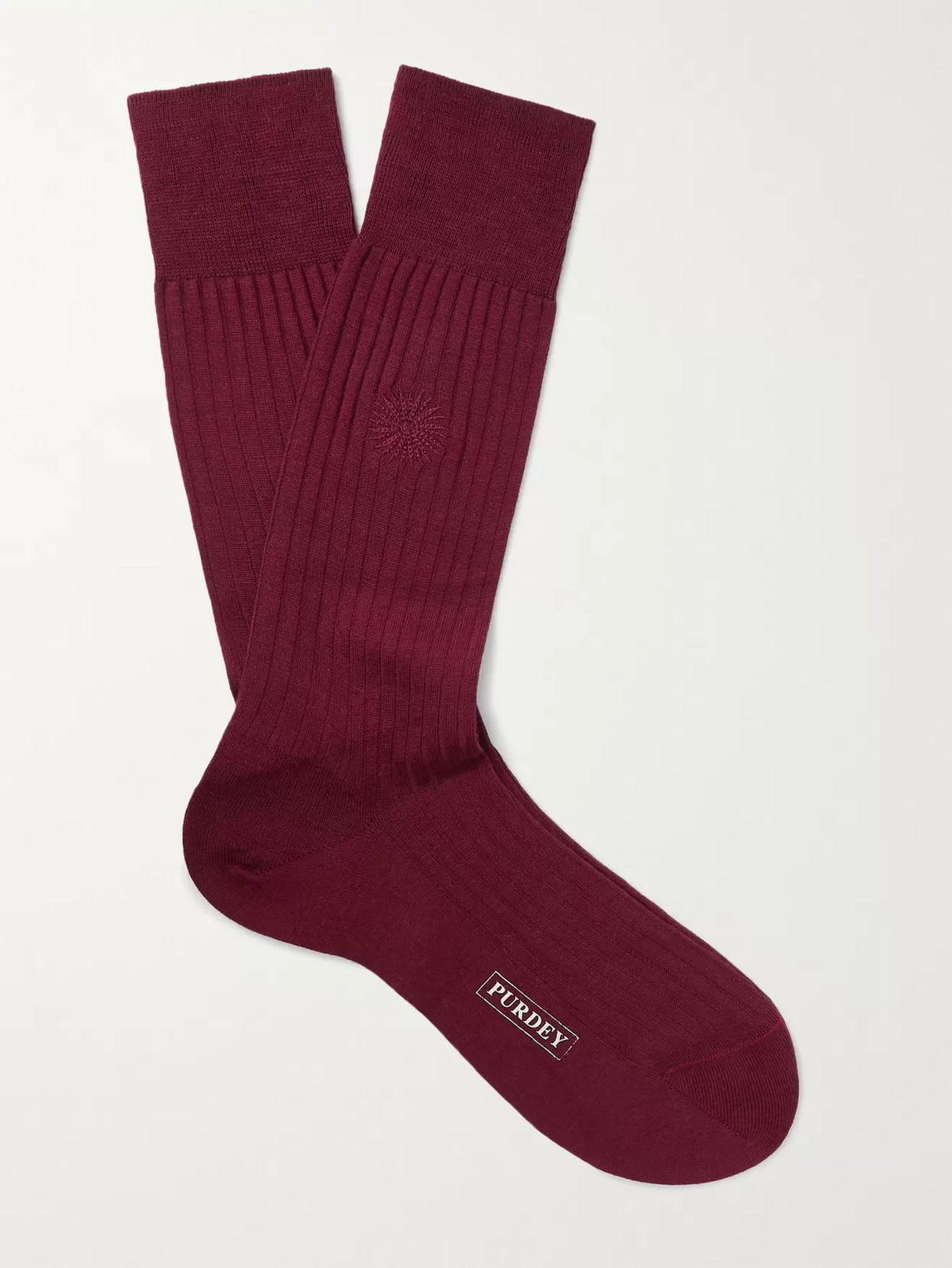 Purdey Featherburst Embroidered Ribbed Merino Wool-blend Socks In Burgundy