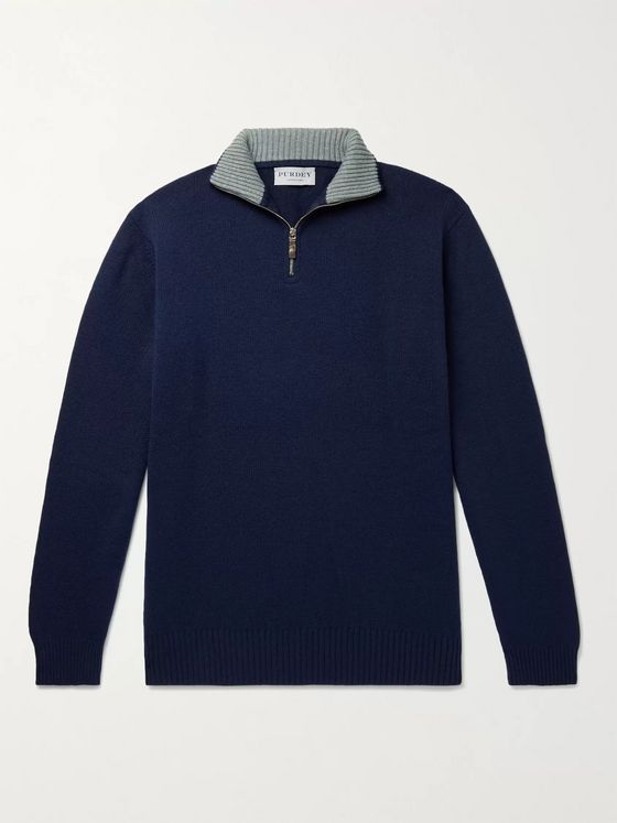 Purdey Slim-Fit Mélange Cashmere Half-Zip Sweater