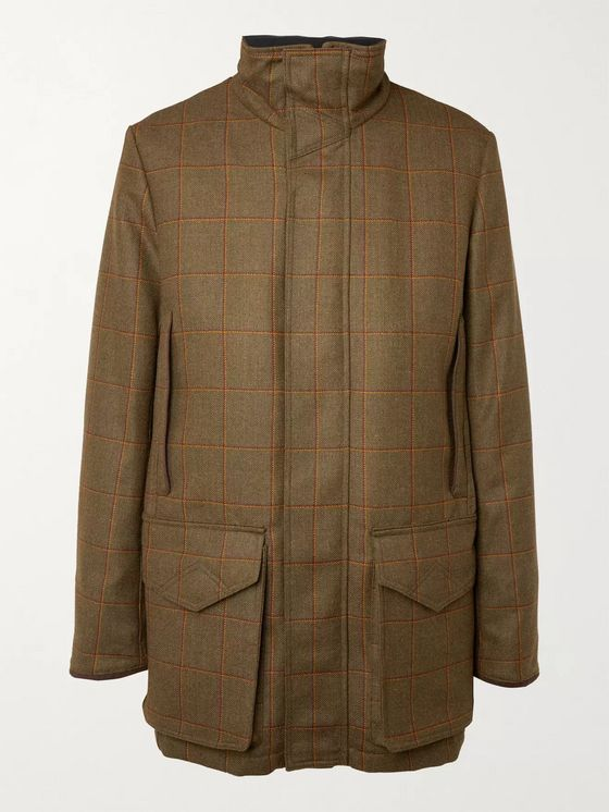 Purdey Checked Herringbone Wool-Tweed Coat