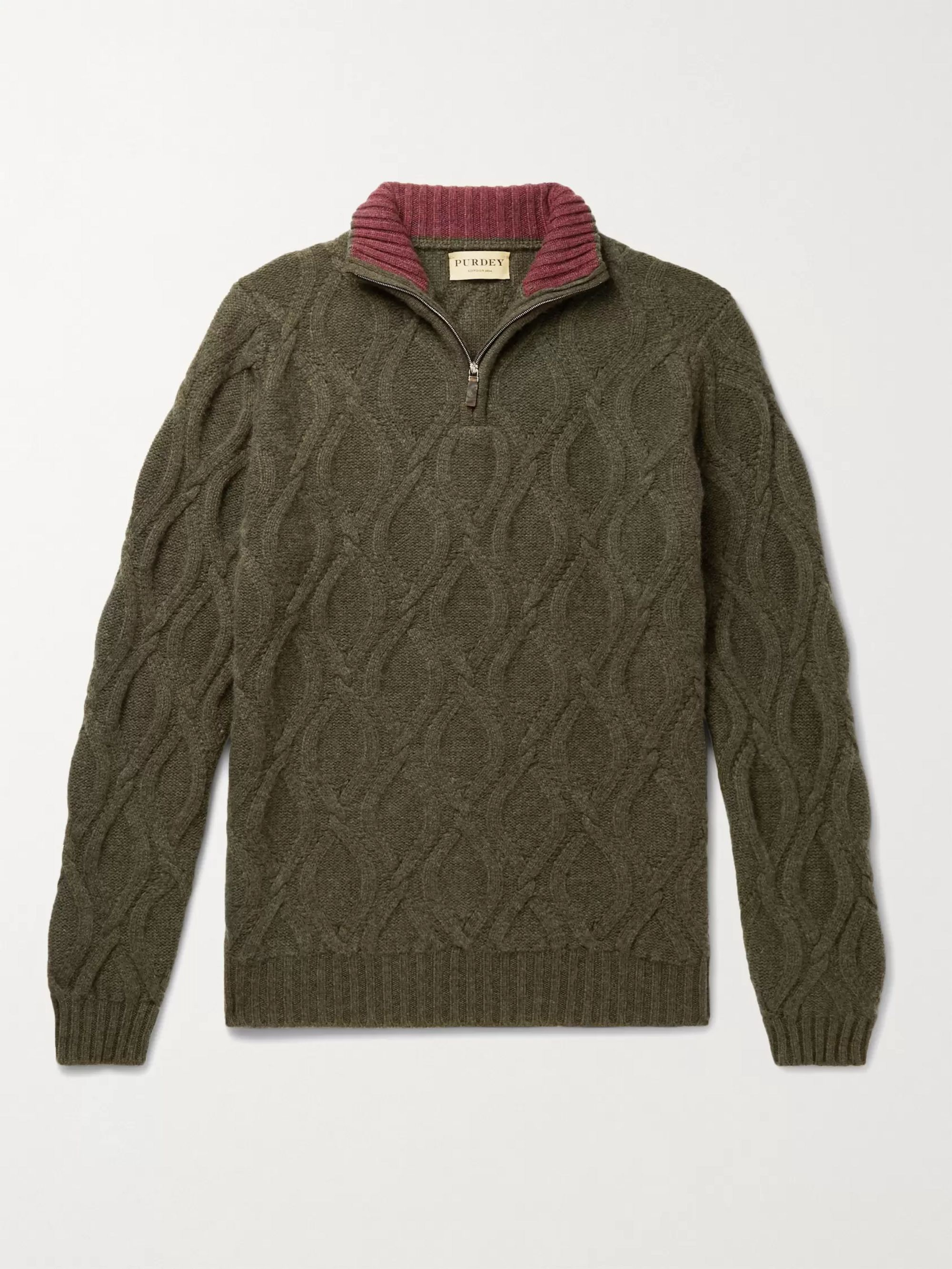 Purdey Linton Cable-Knit Cashmere Half-Zip Sweater