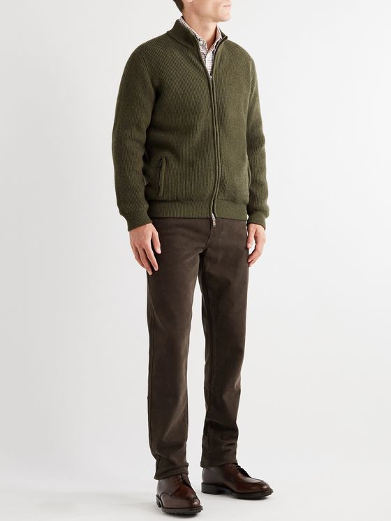 Purdey Orkney Ribbed Wool Zip-Up Cardigan