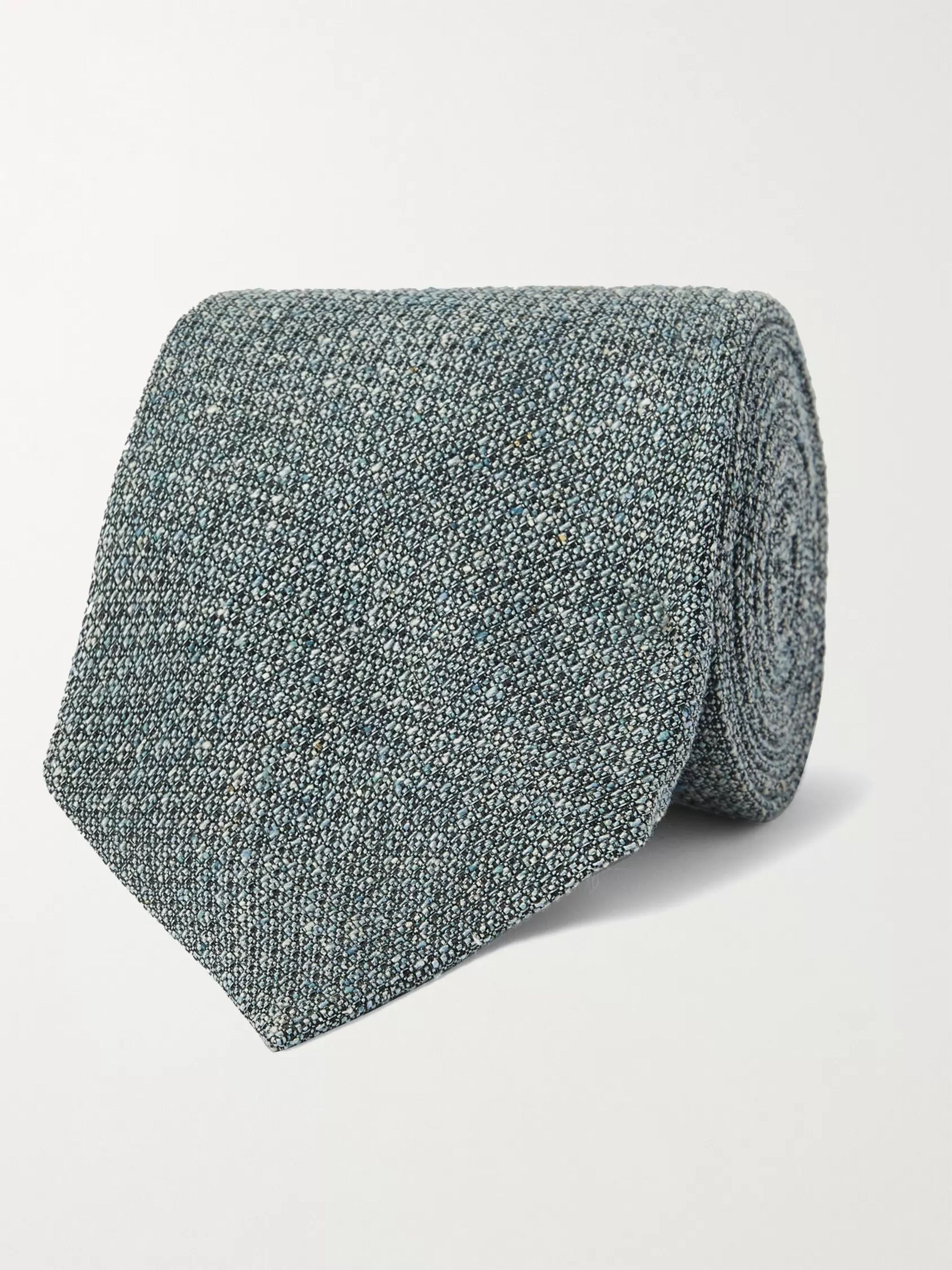 Purdey Silk-Jacquard Tweed Tie,Light blue