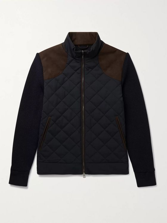 PURDEY Faux Suede-Trimmed Panelled Quilted Virgin Wool-Blend and Shell Jacket