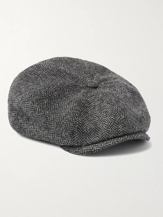 PURDEY York Bakerboy Herringbone Wool-Tweed Flat Cap
