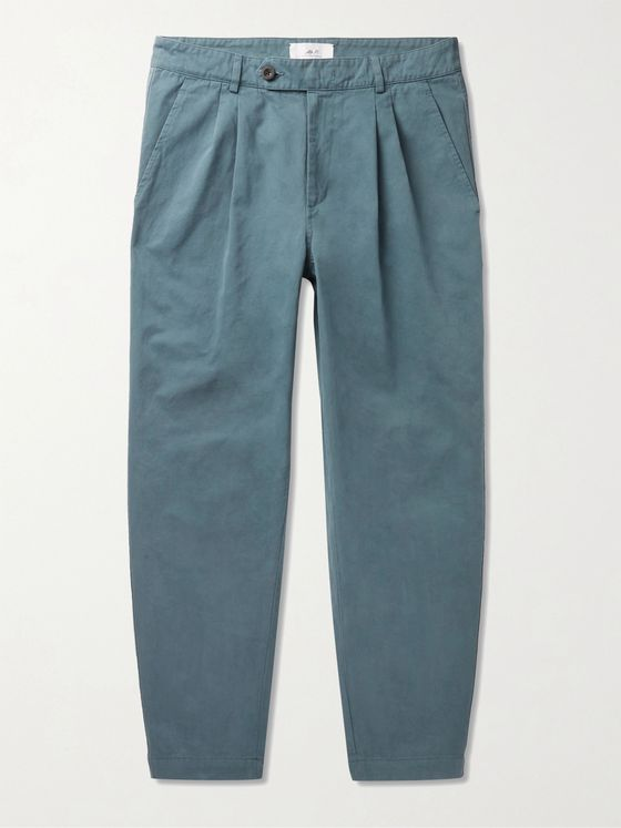 MR P. Tapered Garment-Dyed Pleated Cotton Trousers