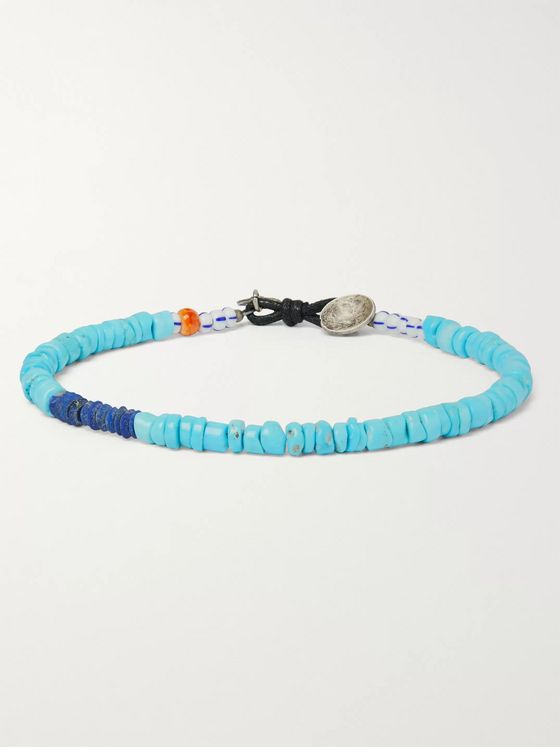 Peyote Bird Pacifico Multi-Stone, Sterling Silver and Leather Bracelet
